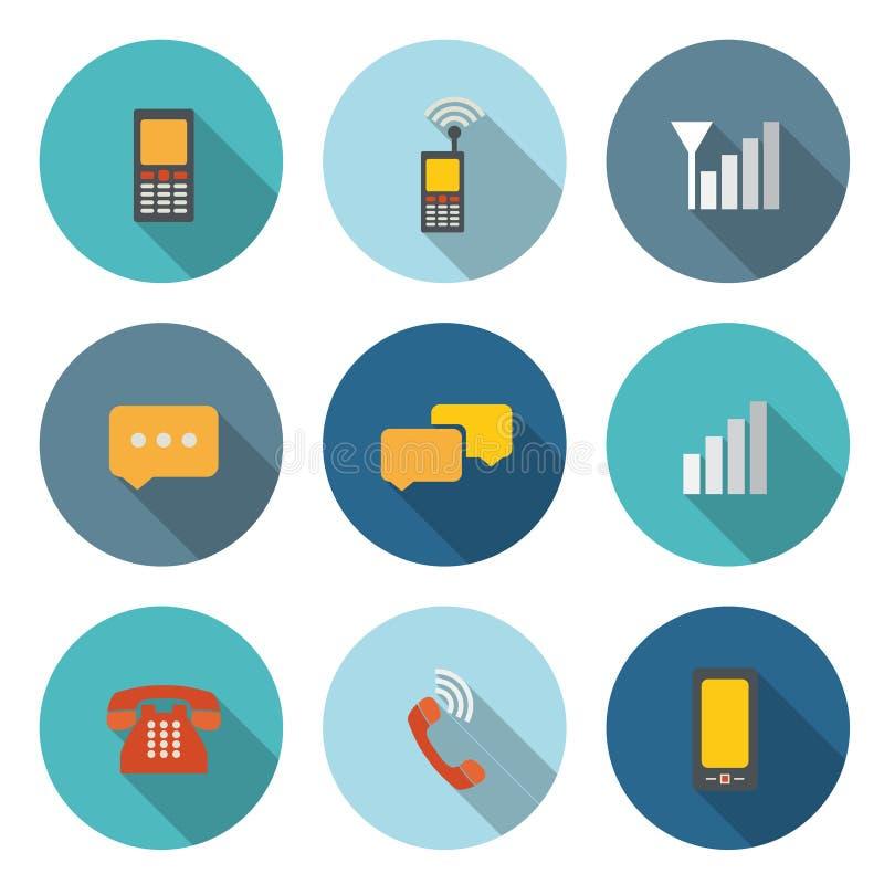 Kółkowa ikona dla Komunikacyjnego pojęcia z telefonem i bubbl ilustracja wektor