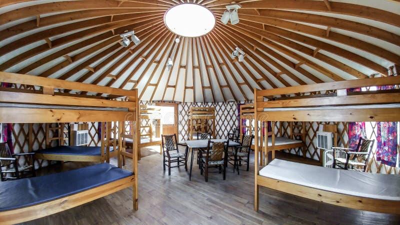 Kółkowa kabina przy Obozowym Edwards YMCA w Wschodnim Troja, WI zdjęcie royalty free