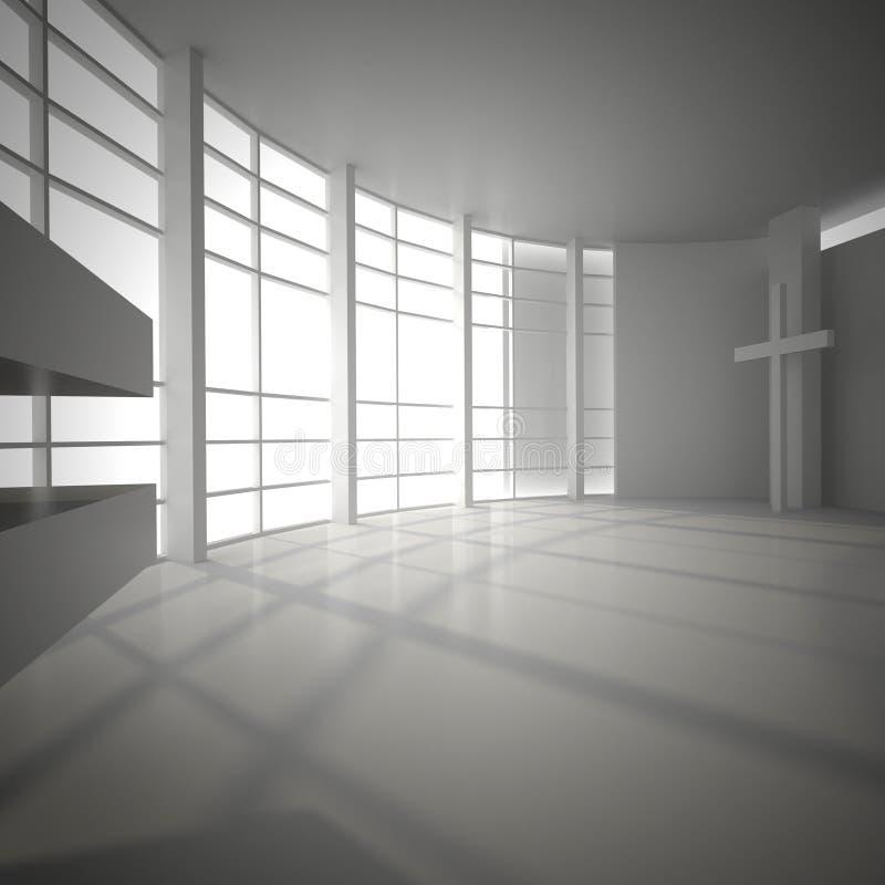 Kółkowa sala z przejrzystą ścianą i external światłem i ilustracji