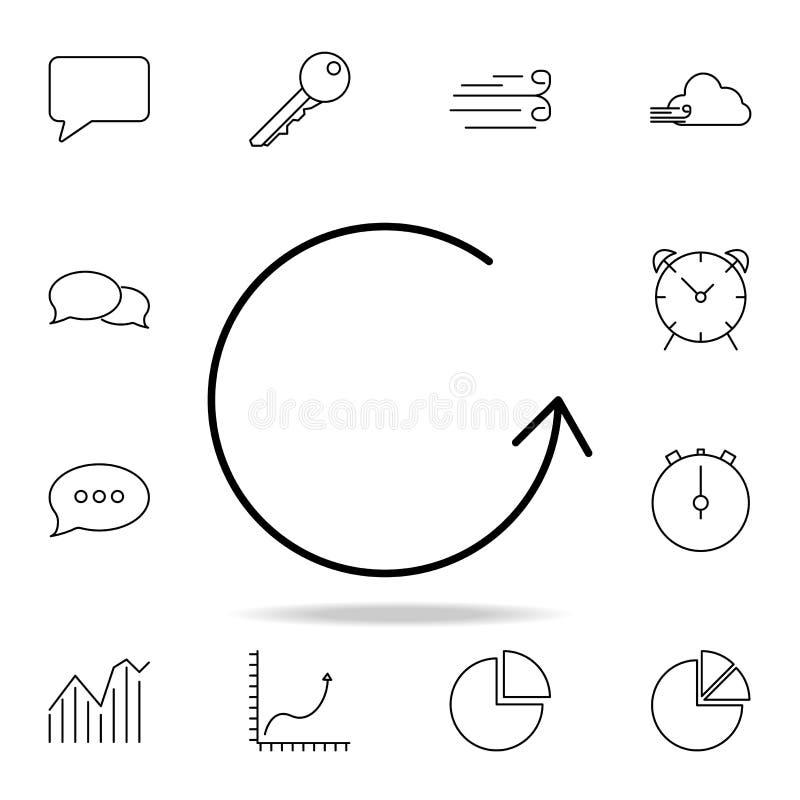Kółkowa strzałkowata ikona Szczegółowy set proste ikony Premia graficzny projekt Jeden inkasowe ikony dla stron internetowych, si royalty ilustracja