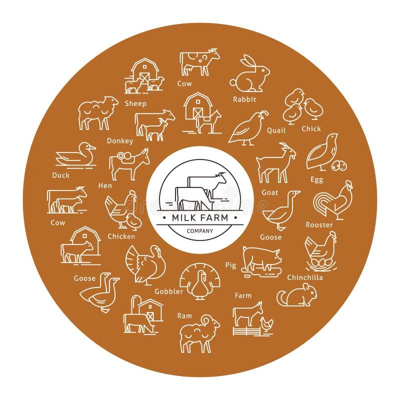Kółkowa wektorowa ikona ustawiająca w kreskowym stylu zwierzęta gospodarskie sylwetki ilustracja wektor