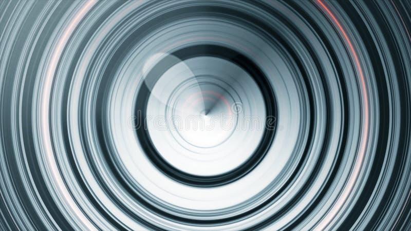 Kółkowe rozsądne fale Abstrakcjonistyczna animacja kurenda wykłada pulsować od centrum Zapętlająca animacja monochromatic ilustracji