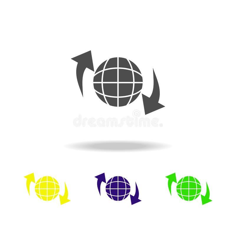 kółkowe strzały i kul ziemskich stubarwne ikony Znaki i symbol inkasowa ikona dla stron internetowych, sieć projekt, mobilny app  royalty ilustracja