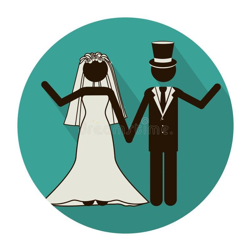 kółkowego kształta piktogram ślub pary powitanie z kostiumami ilustracja wektor