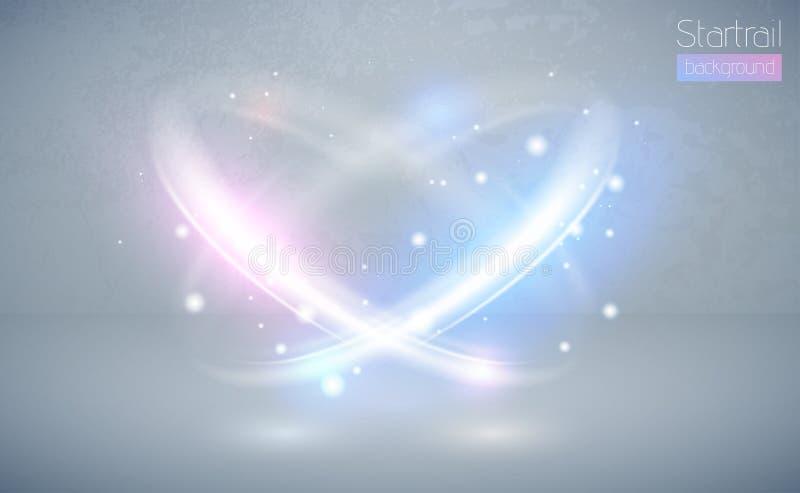 Kółkowego obiektywu racy błękitny i różowy lekki skutek z iskrami Abstrakt przecinająca elipsa Wirowa łuny linia Zasila energię ilustracja wektor