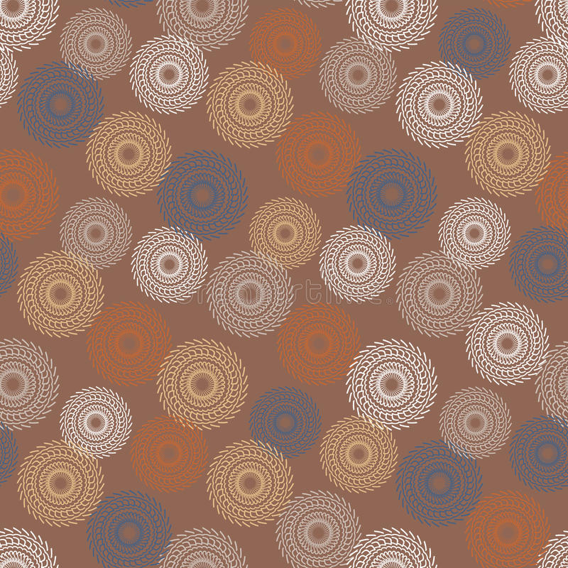 Kółkowego projekta wzoru bezszwowa tekstura na brown tle ilustracja wektor