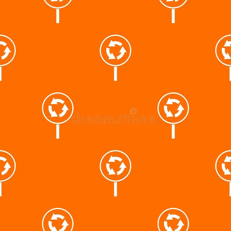 Kółkowego ruchu drogowego znaka wzór bezszwowy ilustracja wektor