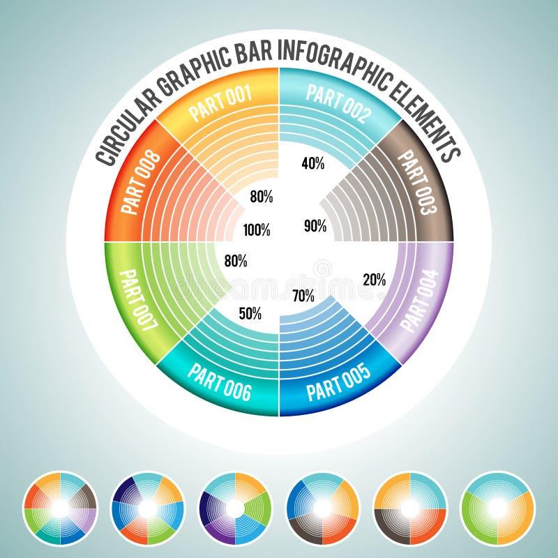 Kółkowi grafika baru Infographic elementy royalty ilustracja