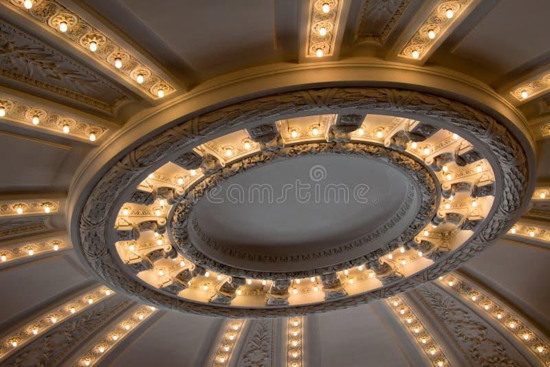 Kółkowy Architektoniczny podsufitowy światło w sunburst wzorze zdjęcia stock