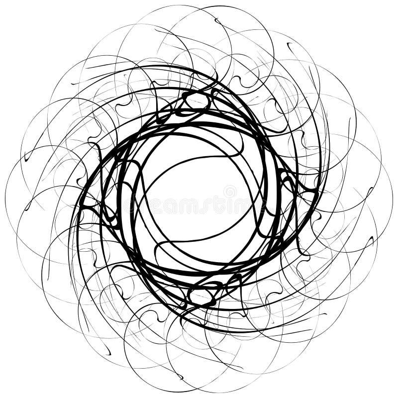 Kółkowy geometryczny motyw Abstrakcjonistyczny grayscale sztuki element ilustracja wektor