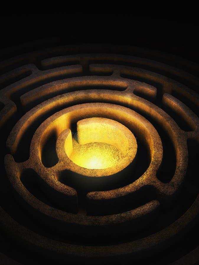Kółkowy labirynt z jaskrawym światłem w centrum ilustracja wektor