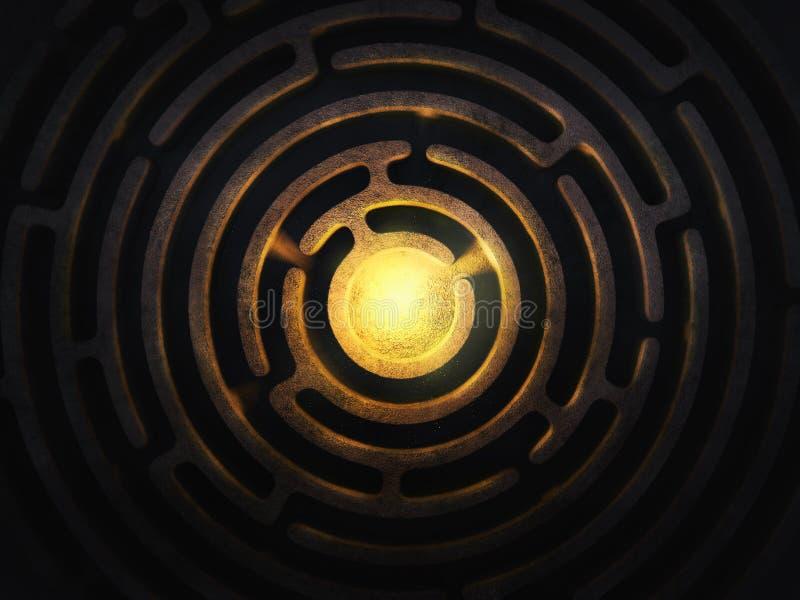 Kółkowy labirynt z jaskrawym światłem w centrum royalty ilustracja