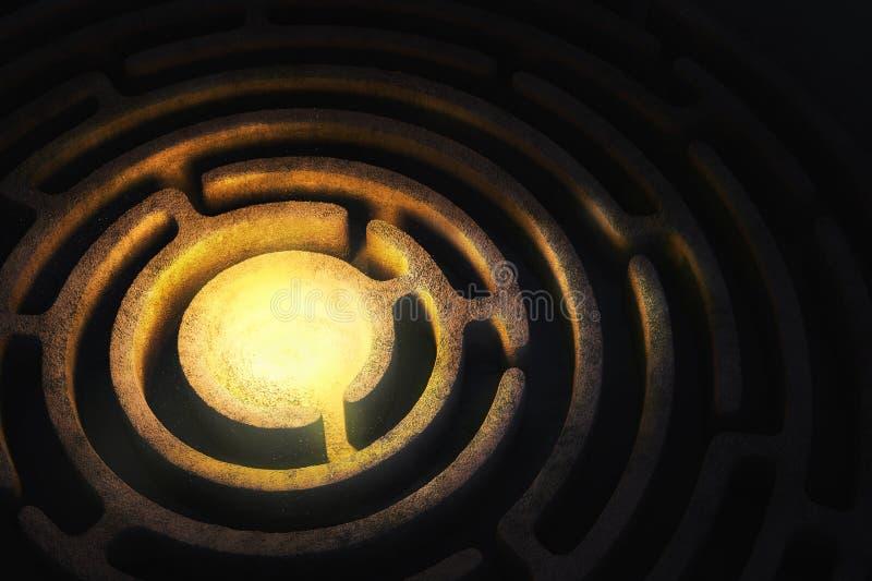 Kółkowy labirynt z jaskrawym światłem w centrum ilustracji