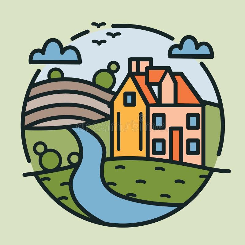 Kółkowy logotyp z domem wiejskim, wzgórzami zakrywającymi z kultywującymi polami i rzeką rysującą w lineart stylu, Round logo z royalty ilustracja