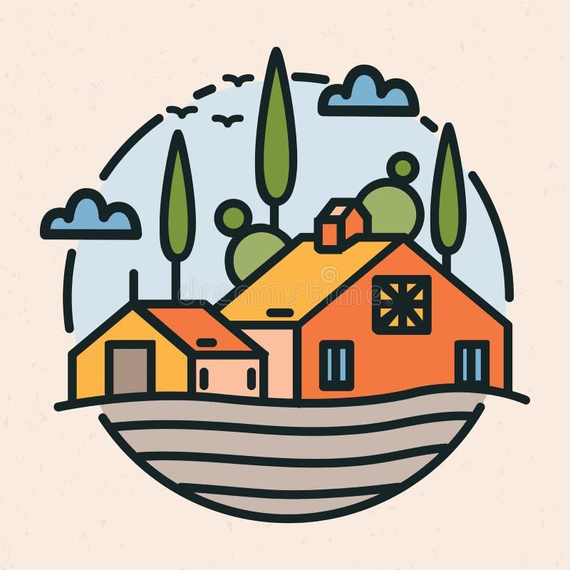 Kółkowy logotyp z wioska krajobrazem, budynek i kultywujący pole w liniowym stylu, stajni lub rancho Round logo lub ilustracji