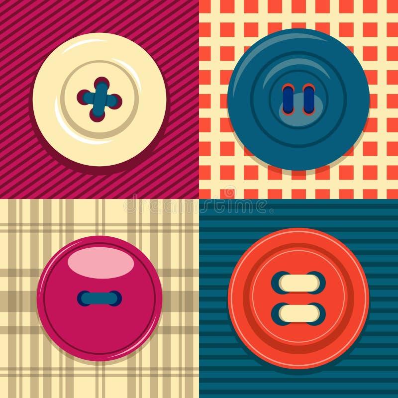 Kółkowy odzież guzika ikony set royalty ilustracja