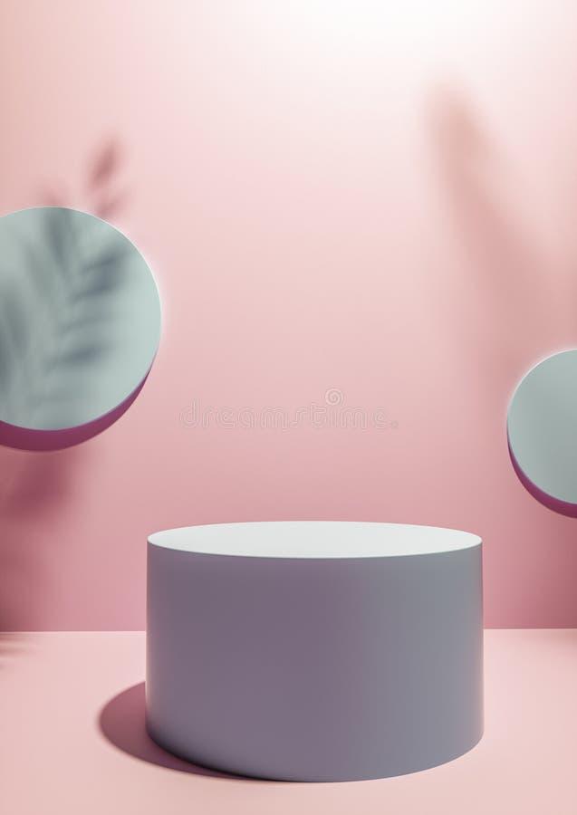 Kółkowy pokazu cokół na różowym pracownianym tle zdjęcia stock