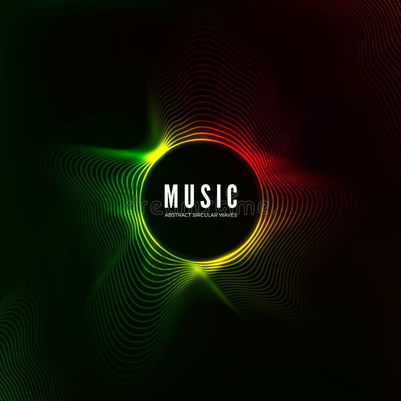 Kółkowy rozsądnej fala unaocznienie podkład muzyczny abstrakcyjne Kolor struktury audio przepływ również zwrócić corel ilustracji ilustracja wektor