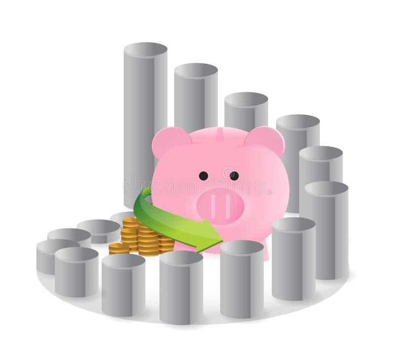 Kółkowy savings wykres ilustracja wektor