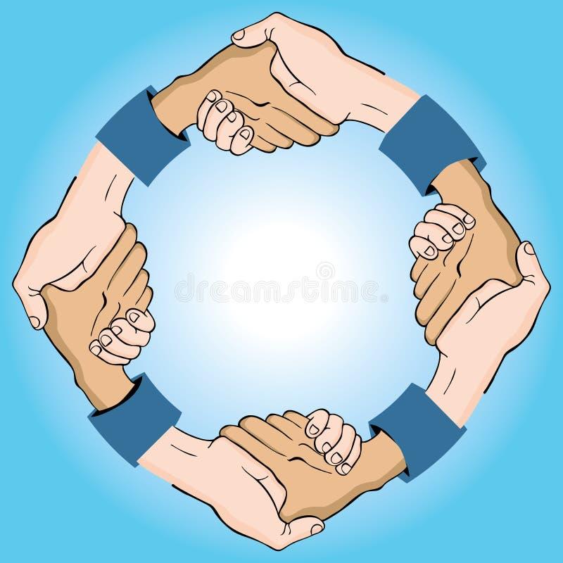 kółkowy uścisk dłoni ilustracja wektor