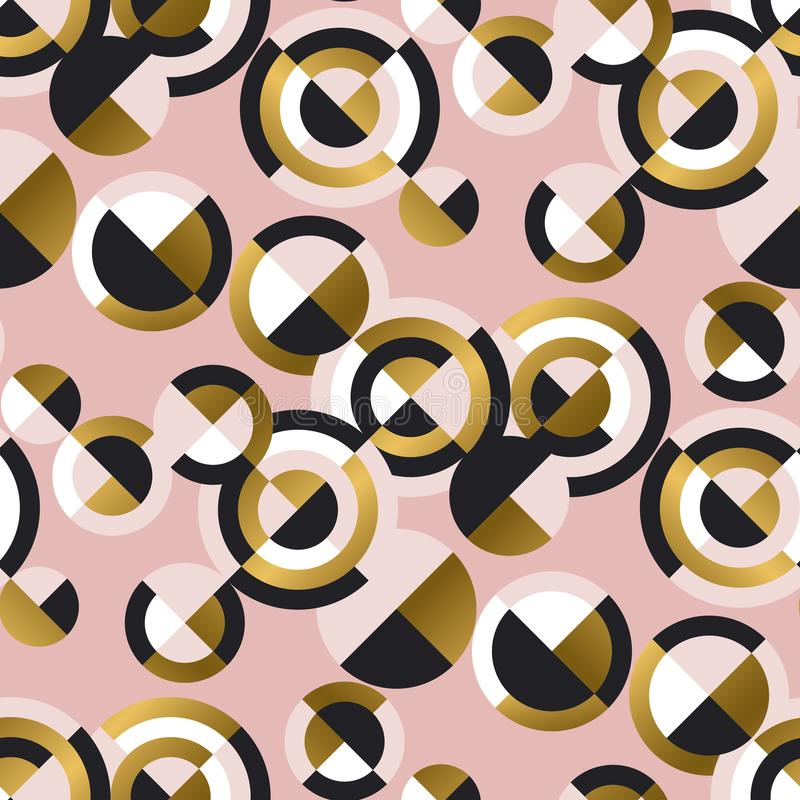 Kółkowych geometrycznych kształtów retro bezszwowy wzór royalty ilustracja