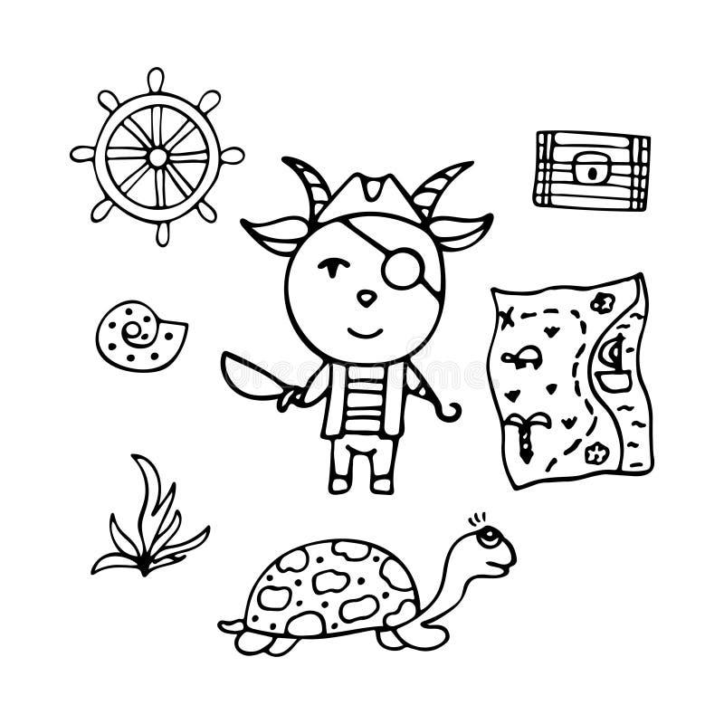Kózka jest piratem z kordzikiem, haczykiem i skarb mapą, ilustracja wektor