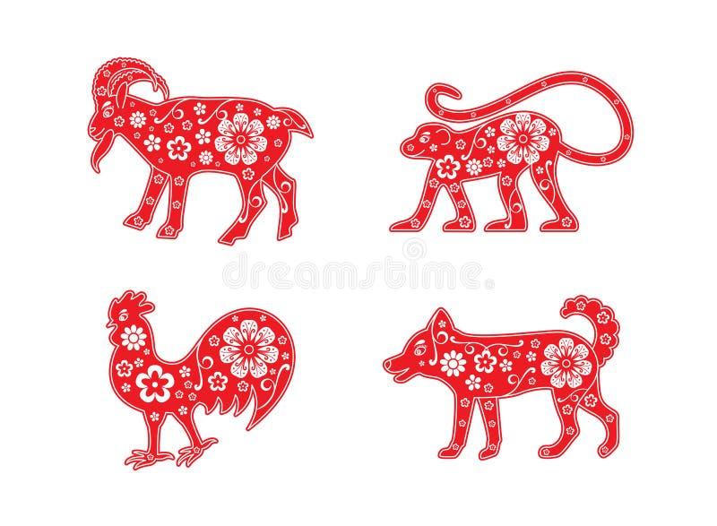 Kózka, małpa i kogut, pies Chiński horoskopu zwierzęcia set dekoracyjny elementu kwiatu wektor royalty ilustracja