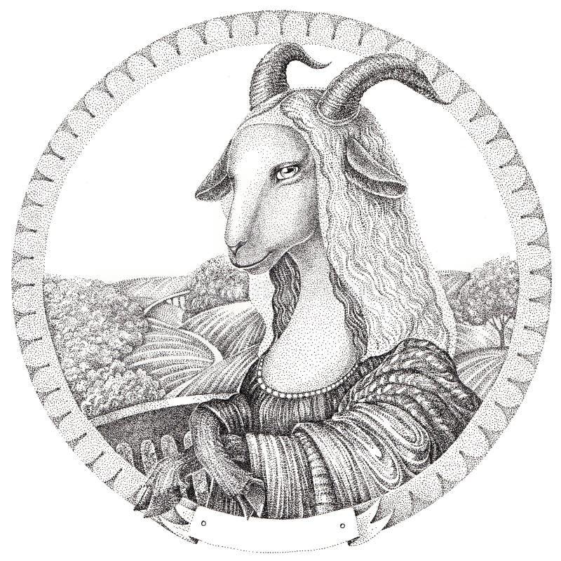Kózka - Mona Lisa Symbolu nowego roku kózka ilustracja wektor