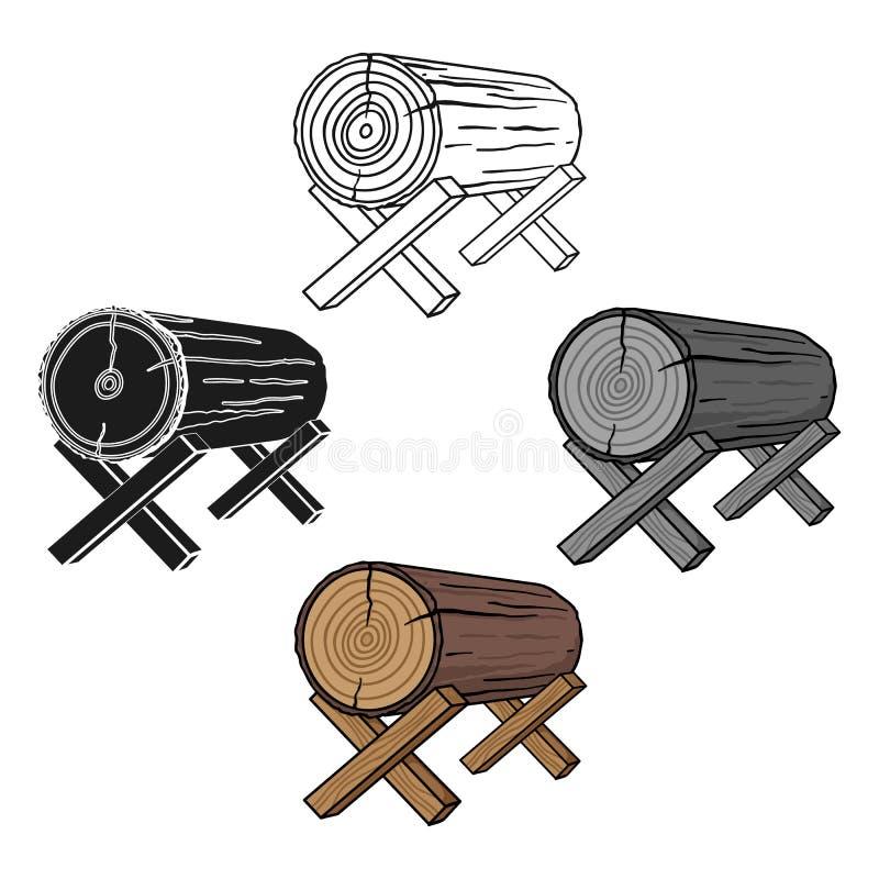 Kózki dla piłować ikonę w kreskówce, czerń styl odizolowywający na białym tle Tartaka i szalunku symbolu zapasu wektor ilustracja wektor
