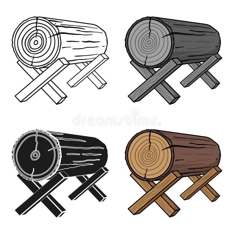 Kózki dla piłować ikonę w kreskówka stylu na białym tle Tartak i szalunku symbolu zapasu wektoru ilustracja ilustracja wektor