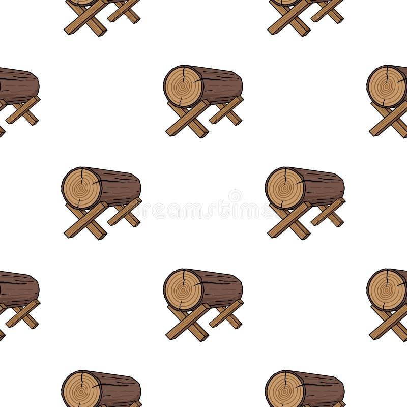 Kózki dla piłować ikonę w kreskówka stylu na białym tle Tartaka i szalunku wzoru zapasu wektor ilustracji