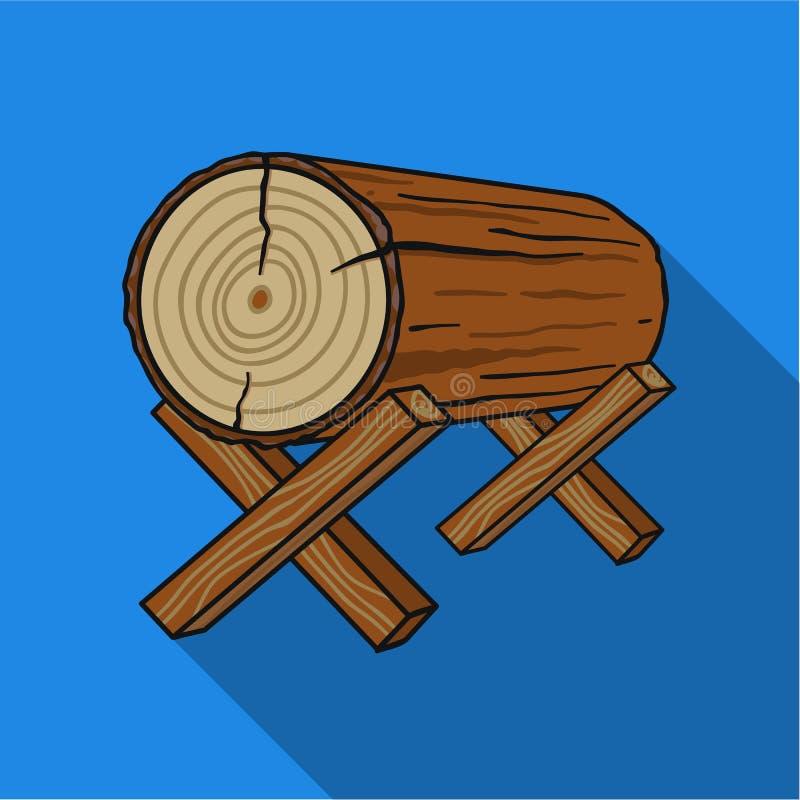 Kózki dla piłować ikonę w mieszkanie stylu na białym tle Tartak i szalunku symbolu zapasu wektoru ilustracja ilustracja wektor