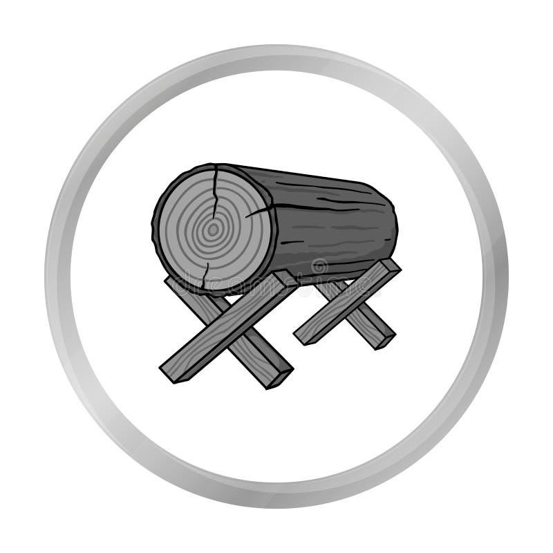 Kózki dla piłować ikonę w monochromu stylu odizolowywającym na bielu Tartaka i szalunku symbolu zapasu wektor ilustracja wektor