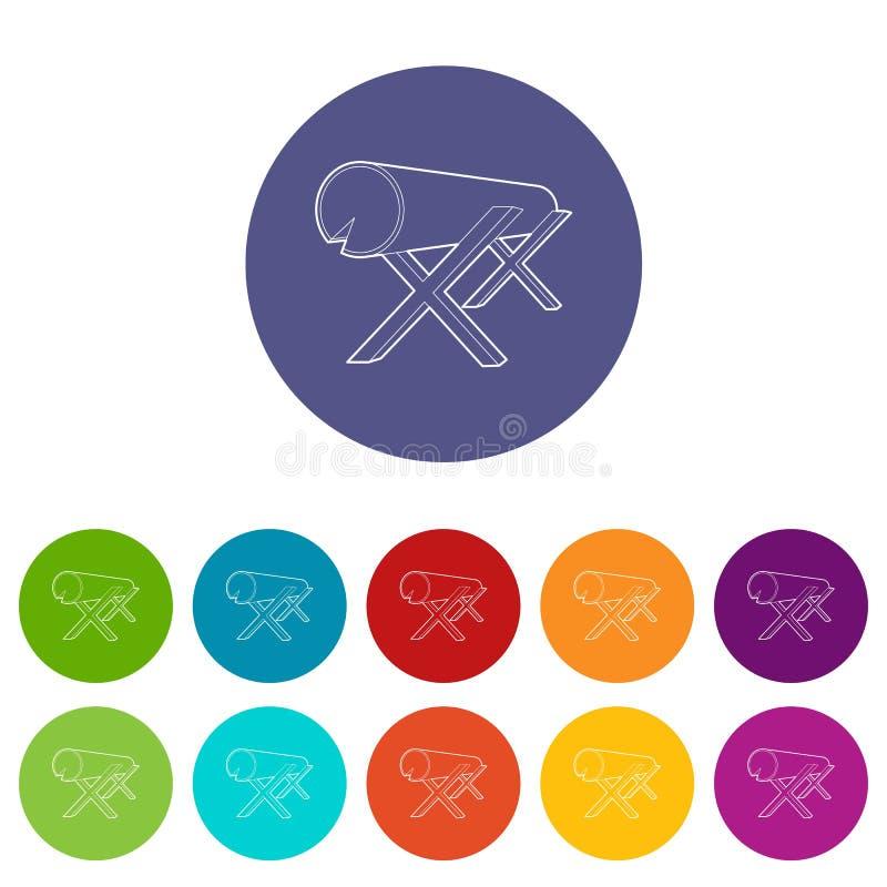 Kózki dla piłować notują ikonę, konturu styl ilustracja wektor