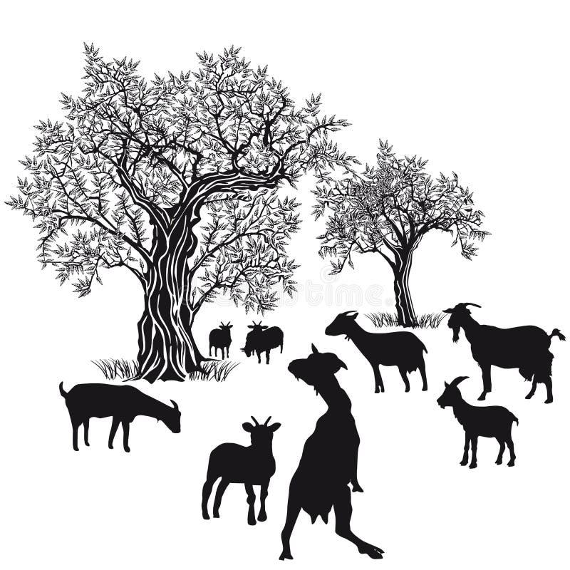 Kózki i drzewa ilustracja wektor