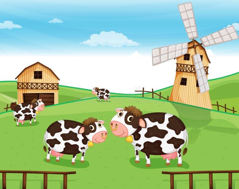 Kózki przy gospodarstwem rolnym z wiatraczkiem ilustracja wektor