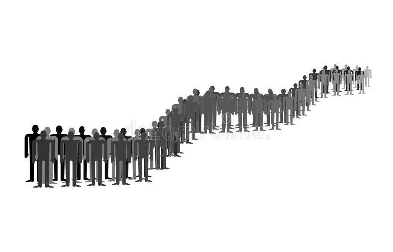 Kö av isolerat folk Många personer står i lång rad stock illustrationer