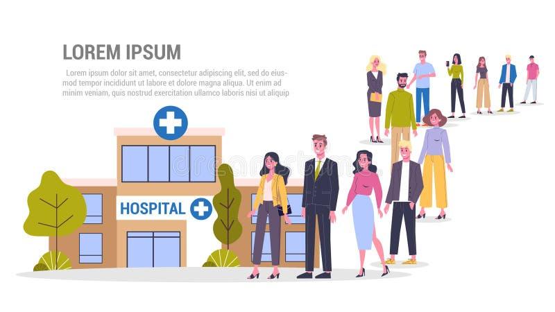 Kö till läkaren Personer som väntar på sjukhus royaltyfri illustrationer