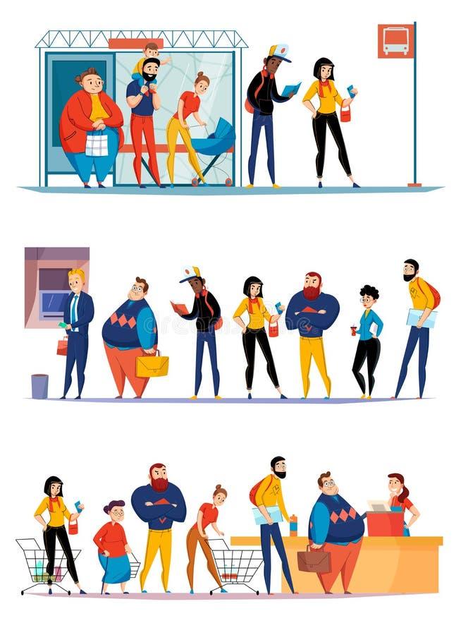 KöfolkHorizontale uppsättningar stock illustrationer