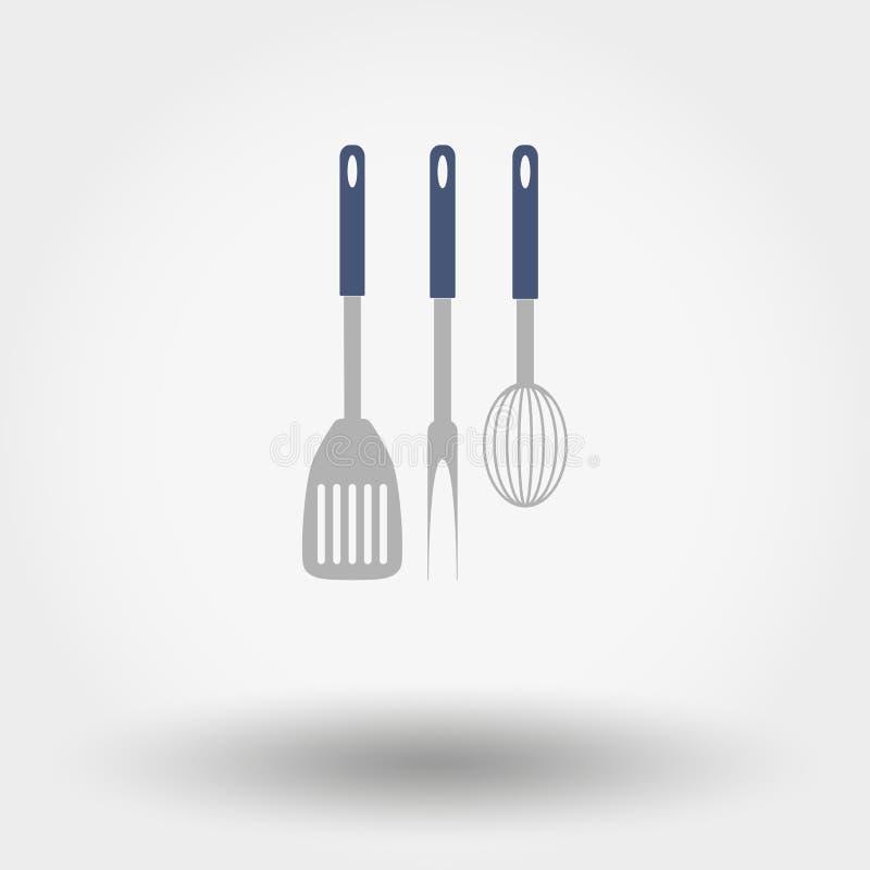 Kök bearbetar konturer stock illustrationer