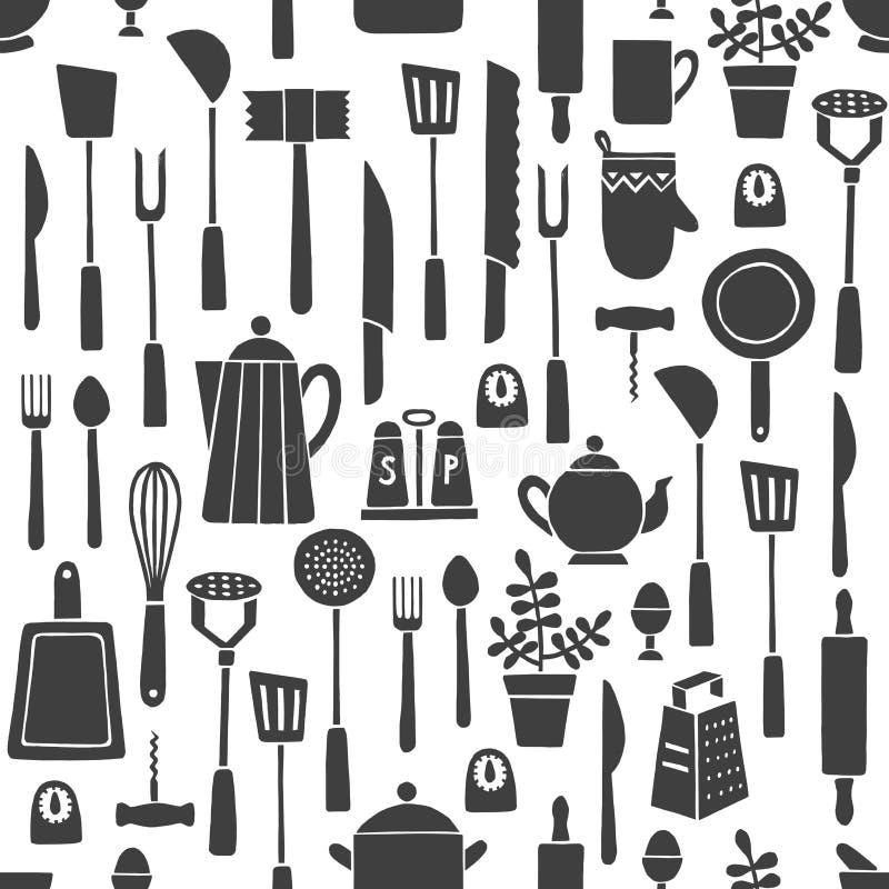 Kök bearbetar mönstrar stock illustrationer