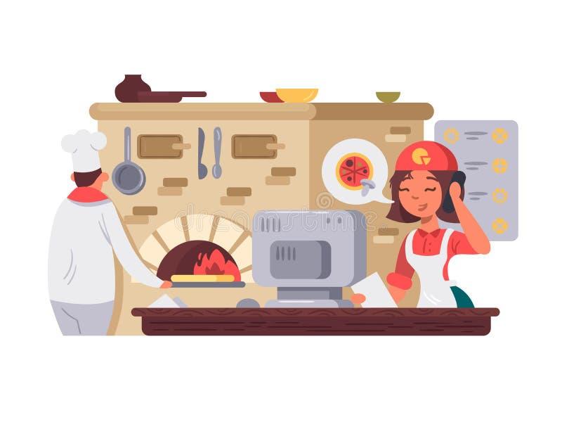 Kök i pizzeria stock illustrationer