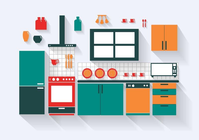 Kök med kylugndiskaren och långa skuggor för monteringar royaltyfri illustrationer