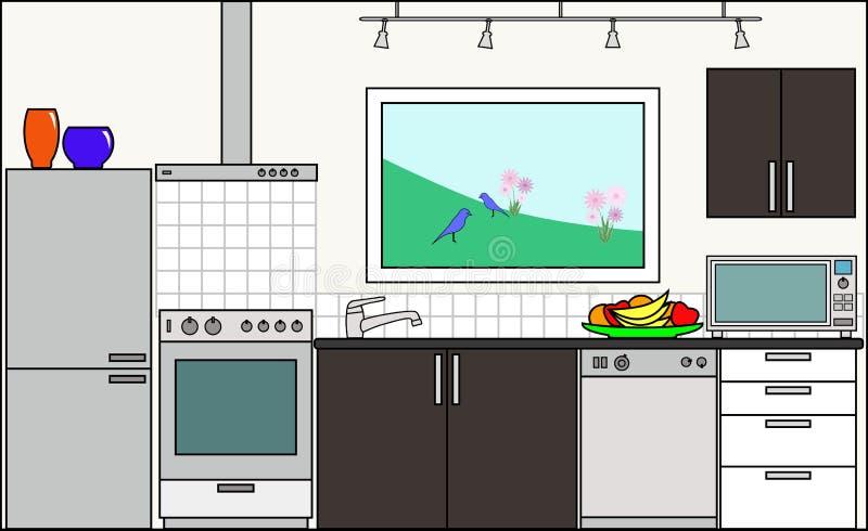 Kök med monteringar vektor illustrationer