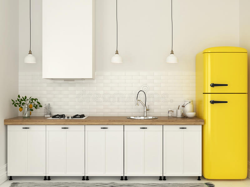 Kök med vitt möblemang och en gul kyl arkivfoto