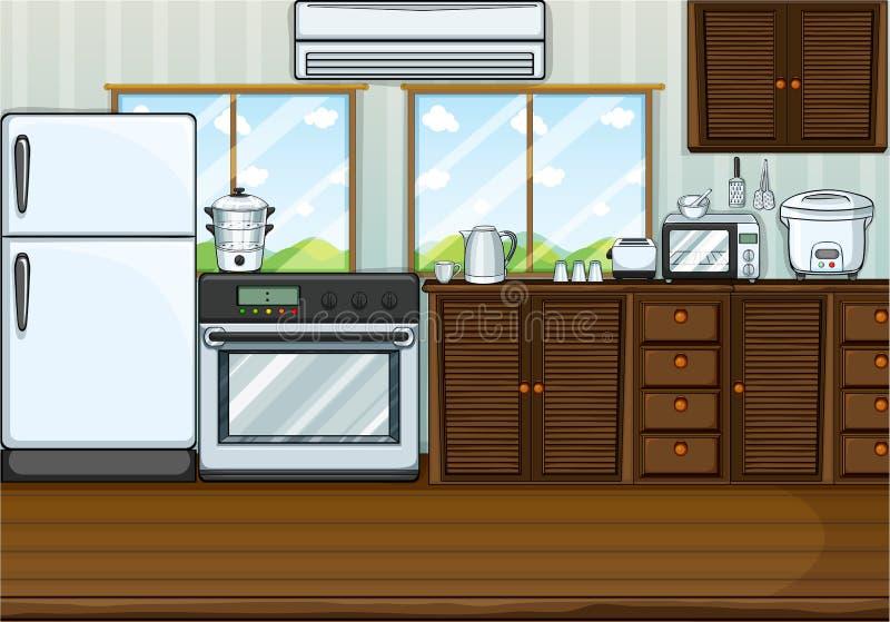 Kök mycket med möblemang och utrustningar stock illustrationer