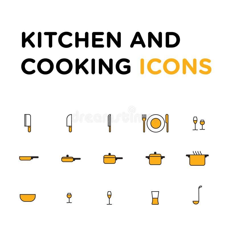 Kök och att laga mat symbolsuppsättningen, isolerade plana symboler för vektor vektor illustrationer