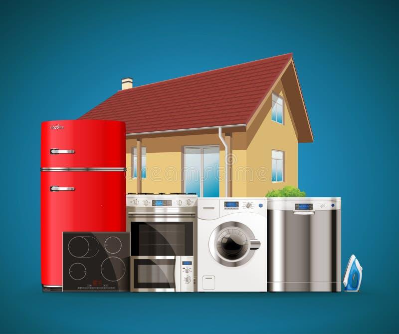 Kök- och husanordningar royaltyfri illustrationer