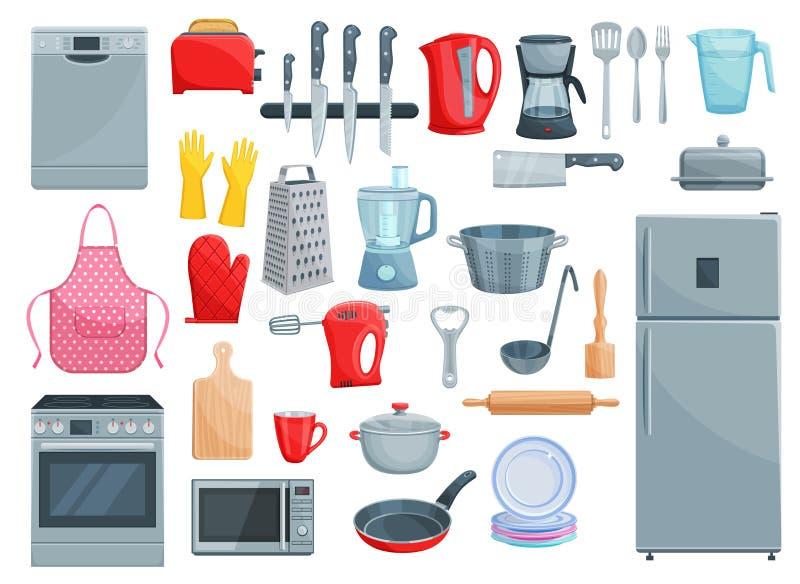 Kökanordningar och uppsättning för dishwarevektorsymboler vektor illustrationer