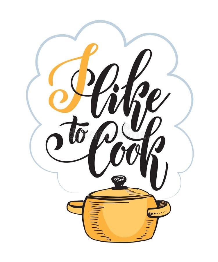 Kökbokstäverinskrifter, logo, kokkonstetikett Jag gillar att laga mat vektor illustrationer
